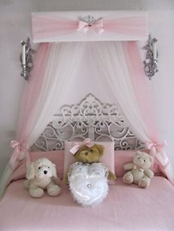 Crib canopy Nursery cornice BED teester FULL Twin Queen 30 inch White Pink Padded Tiara Crown Si ...