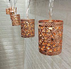 Rose Gold Candle Holder Shaped 10Ft LED Lantern String Lights Battery Powered Boho Metal Bedroom ...