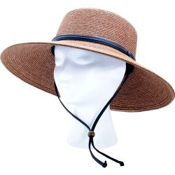 Sloggers Women's  Wide Brim Braided Sun Hat with Wind Lanyard – Dark Brown –   ...