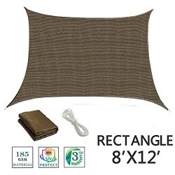 SUNNY GUARD 8′ x 12′ Brown Rectangle Sun Shade Sail UV Block for Outdoor Patio Garden