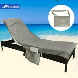 Youlerbu Beach Chair Cover,Pool Lounge Chair Towel Beach Towel with Convenient Storage Pockets ( ...