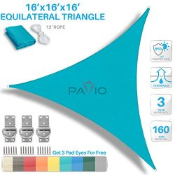 Patio Paradise 16′ x 16′ x 16′ Turquoise Green Sun Shade Sail Equilateral Tria ...