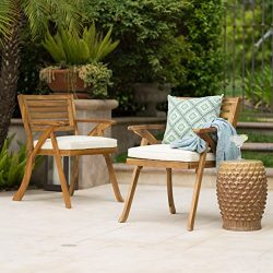 Helen Outdoor Teak Finish Acacia Wood Arm Chair (Set of 2)