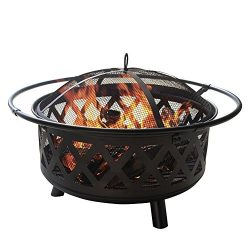 PHI VILLA Fire Pit 29″ Large Steel Crossweave Portable Patio Fireplace, Poker & Spark  ...