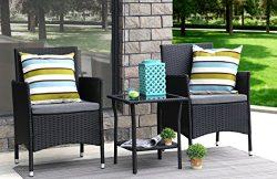 Baner Garden 3 Pieces Outdoor Furniture Complete Patio Cushion PE Wicker Rattan Garden Dining Se ...