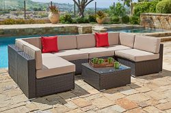 Suncrown Outdoor Furniture Sectional Sofa Set (7-Piece Set) All-Weather Brown Wicker with Brown  ...