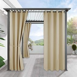 Pergola Outdoor Curtain Panel Decoration – RYB HOME Blackout Curtains Outdoor Décor Top Ri ...