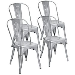 Devoko Metal Indoor-Outdoor chairs Distressed Style Kitchen Dining Chairs Stackable Side Chairs  ...