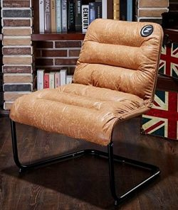 Zenree Comfortable Padded Collapsible Armless Lounge Chair Golden Micro Fiber Soft Cushion for L ...