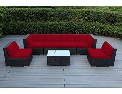 Ohana 7-Piece Outdoor Patio Furniture Sectional Conversation Set, Black Wicker with Sunbrella Jo ...