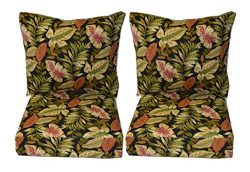 Indoor / Outdoor Twilight Black, Green, Burgundy Tropical Palm Leaf Cushion Sets for Patio Outdo ...