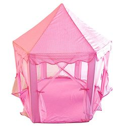 POCO DIVO Royal Gazebo Princess Castle Girls Outdoor Patio Pink Indoor Play Tent Hexagon Toy House