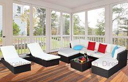 Do4U 10pcs Outdoor Patio Garden Rattan Wicker Sofa Set Sectional Furniture Set (8001-EXP)