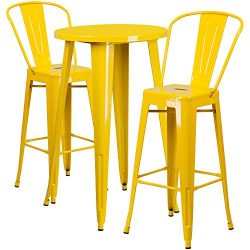 """Flash Furniture 24"""" Round Yellow Metal Indoor-Outdoor Bar Table Set with 2 Cafe Stools"""