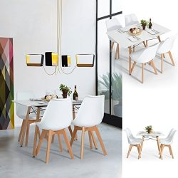 Dining Set FurnitureR Set of 4 Dining Chair Tulip Natural Solid Wood Legs Design with Cushioned  ...