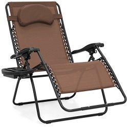 Best Choice Products Oversized Zero Gravity Outdoor Reclining Lounge Patio Chairs w/ Cup Holder  ...