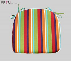 Chair Cushion 16 x 17 Inches Indoor/Outdoor Seat Pads Square (Set of 2, Rainbow, Stripe) for Out ...