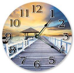 10.5″ GAZEBO ON BEACH DOCK CLOCK – Large 10.5″ Wall Clock – Home Décor Clock