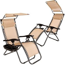 Set of 2 Zero Gravity Outdoor Lounge Chairs w/ Sunshade +Cup Holder with Mobile Device Slot Adju ...