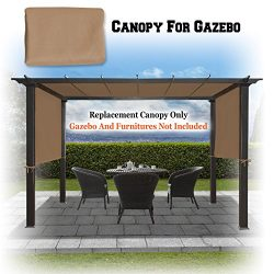 BenefitUSA 18′ x 8.3′ Universal Replacement Canopy Top Cover for Pergola Structure (Tan)
