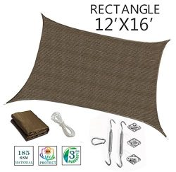 SUNNY GUARD 12′ x 16'Brown Rectangle Sun Shade Sail UV Block with Stainless Steel Ha ...