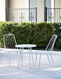 COSCO Outdoor Living 3 Piece Cottage Bistro Steel Patio Furniture Set, White