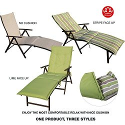 Kozyard Cozy Aluminum Beach Yard Pool Folding Reclining Chaise Lounge Chair (Beige with Lime Cus ...