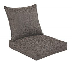 Bossima Indoor/Outdoor Black/Gold Damask Deep Seat Chair Cushion Set,Spring/Summer Seasonal Repl ...