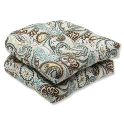Pillow Perfect Outdoor Tamara Paisley Quartz Wicker Seat Cushion, Set of 2