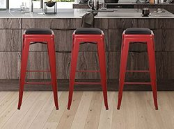 GIA Antique Red 30″ Metal Stool with Black Leather Cushion(Set of 2) – Bar Height Sq ...