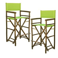 Zew Hand Crafted Tall Foldable Bamboo Director's Chair with Treated Canvas, Set of 2 Chair ...