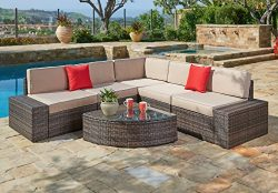 Suncrown Outdoor Furniture Sectional Sofa & Wedge Table (6-Piece Set) All-Weather Brown Wick ...