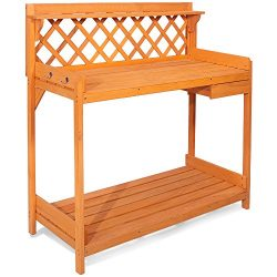 Merax Potting Bench Outdoor Garden Work Station Planting Wood Construction w/ Hooks and Storage  ...