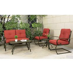 Cloud Mountain 5 Piece Cushioned Outdoor Furniture Garden Patio Conversation Set, Wrought Iron C ...