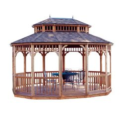 Handy Home Products Monterey Oval Gazebo, 10 x 14 Feet, Brown