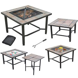 Axxonn 5 in 1, 30″ Square Tile Top Fire Pit, Grill, Cooler, Coffee Table and Side Table wi ...