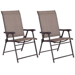 Giantex Set of 2 Patio Folding Sling Chairs Furniture Camping Deck Garden Pool Beach