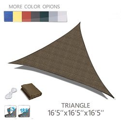 "LOVE STORY 16'5"" x 16'5"" x 16'5"" Triangle Brown UV Block Sun ..."