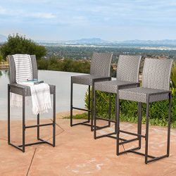 Conrad Patio Furniture ~ Outdoor Bar Stools (Grey) (Wicker) (Set of 4)