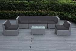Ohana Outdoor Patio Wicker Furniture Sectional Conversation 7pc Gray Wicker Sofa Set with Free P ...