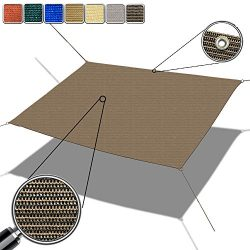 Alion Home Custom Sized Straight Edge Sun Shade Sail with Anti-rust Grommets and Stainless D-rin ...