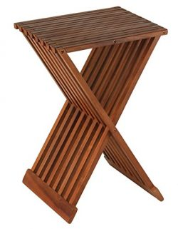 Bare Decor Leaf Folding Counterstool in Solid Teak Wood 24″ high