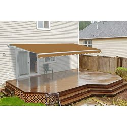 Aleko AWM20X10SAND#31 Retractable Motorized Patio Awning, 20′ x 10′, Sand