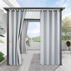 Pergola Outdoor Curtain Panel Drapes – RYB HOME Blackout Curtains Outdoor Décor Top Ring G ...