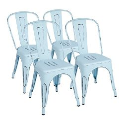 Furmax Metal Chairs Distressed Style Dream Blue Indoor/Outdoor Use Stackable Chic Dining Bistro  ...