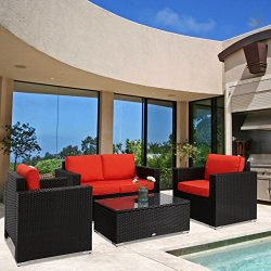 Kinbor New 4 PCs Black Rattan Patio Outdoor Furniture Set Garden Lawn Sofa Sectional Set, Orange ...