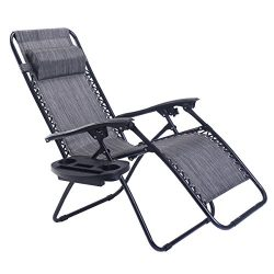 Goplus Folding Zero Gravity Reclining Lounge Chairs Outdoor Beach Patio W/Utility Tray (Grey)