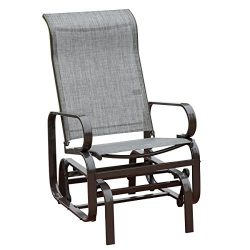 HollyHOME Outdoor Patio Rocker Chair, Balcony Glider Rocking Lounge Chair, All Weatherproof, Grey