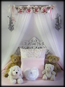 Shabby Chic Princess Bed Crown Canopy Crib Baby Nursery Decor Princess Girl's Bedroom FREE ...