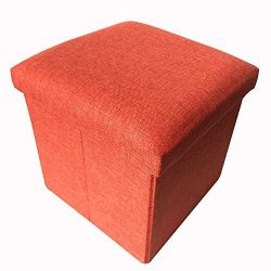 Geartist GOO1 Linen Folding Organizer Storage Ottoman Bench Footrest Stool Coffee Table Cube, Ca ...